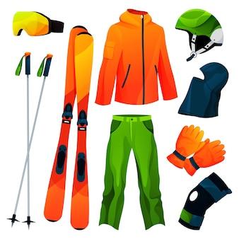 Ensemble d'icônes de collection d'outils de sport d'équipement de ski