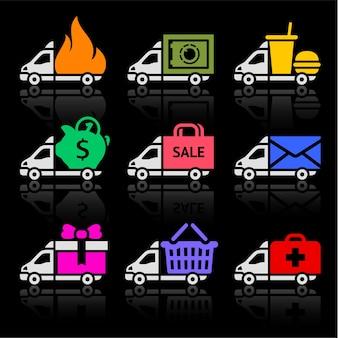 Ensemble d'icônes colorées de camion de livraison