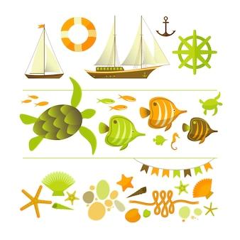 Ensemble d'icônes colorées d'été