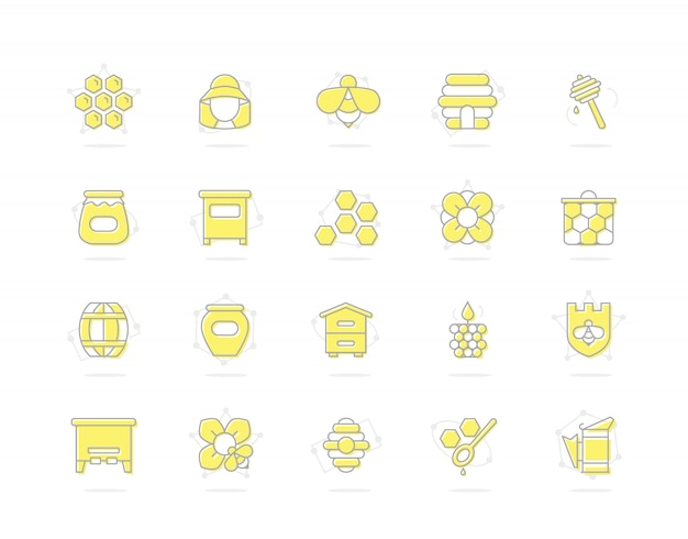 Ensemble d'icônes colorées de ligne de miel. abeille, nid d'abeille, baril, apiculteur et plus encore.