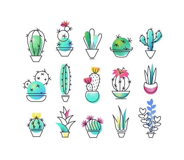 Ensemble d'icônes colorées de plantes d'intérieur, cactus symboles texturés et monoline demi-teintes