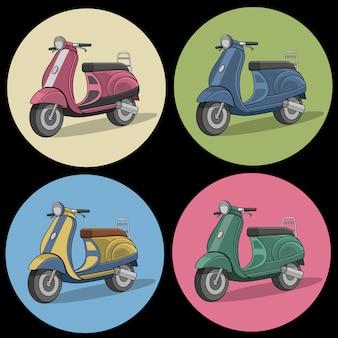 Ensemble d'icônes colorées scooter rétro