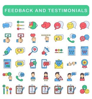 Ensemble d'icônes de commentaires et de témoignages, style de couleur linéaire