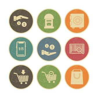 Ensemble d'icônes de commerce électronique isolé sur blanc