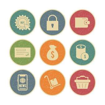 Ensemble d'icônes de commerce électronique isolé