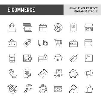 Ensemble d'icônes de commerce électronique