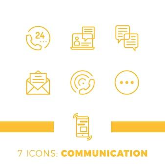 Ensemble d'icônes de communication linéaire