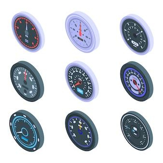 Ensemble d'icônes de compteur de vitesse, style isométrique