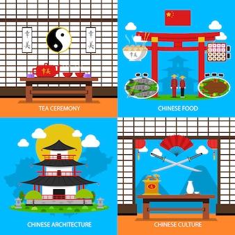 Ensemble d'icônes de concept chinois
