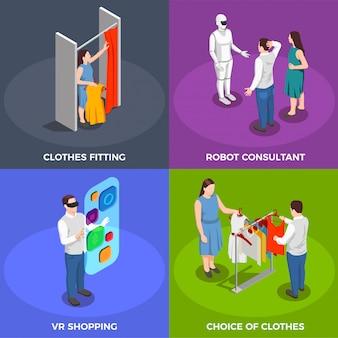 Ensemble d'icônes de concept isométrique de consommateurs