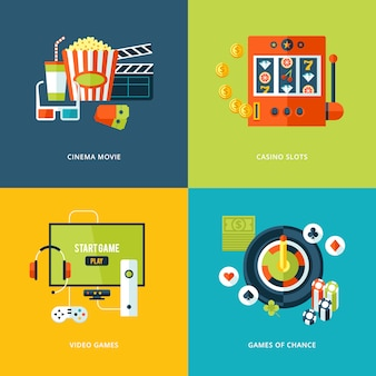 Ensemble d'icônes de concept pour les types de divertissement. icônes pour film de cinéma, jeux de machines à sous de casino, jeux vidéo, jeux de hasard.