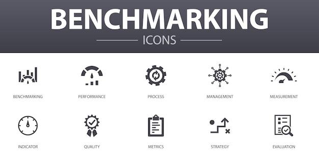 Ensemble d'icônes de concept simple d'analyse comparative. contient des icônes telles que performance, processus, gestion, indicateur, etc., pouvant être utilisées pour le web, le logo, l'interface utilisateur/ux