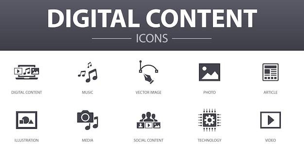 Ensemble d'icônes de concept simple de contenu numérique. contient des icônes telles que des images vectorielles, des médias, des vidéos, du contenu social, etc., pouvant être utilisées pour le web, le logo, l'interface utilisateur/ux