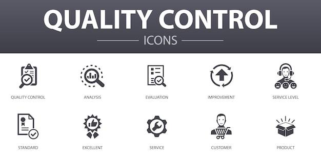 Ensemble d'icônes de concept simple de contrôle de la qualité. contient des icônes telles que l'analyse, l'amélioration, le niveau de service, excellent et plus encore, pouvant être utilisées pour le web, le logo, l'ui/ux