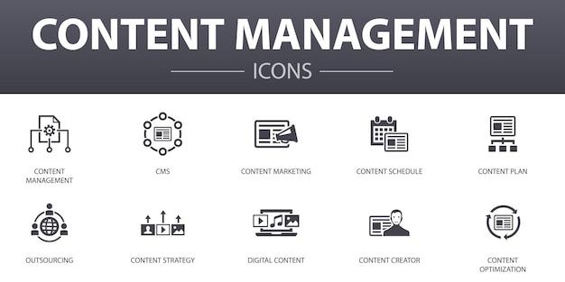 Ensemble d'icônes de concept simple de gestion de contenu. contient des icônes telles que cms, marketing de contenu, externalisation, contenu numérique, etc., pouvant être utilisées pour le web, le logo, l'ui/ux