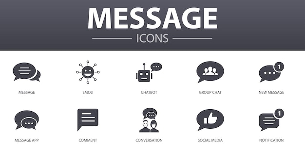 Ensemble d'icônes de concept simple de message. contient des icônes telles que emoji, chatbot, discussion de groupe, application de messagerie et plus encore, pouvant être utilisées pour le web, le logo, l'interface utilisateur/ux