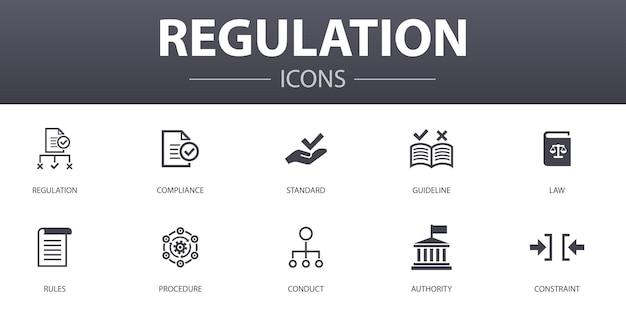 Ensemble d'icônes de concept simple de réglementation. contient des icônes telles que conformité, norme, directive, règles, etc., pouvant être utilisées pour le web, le logo, l'interface utilisateur/ux