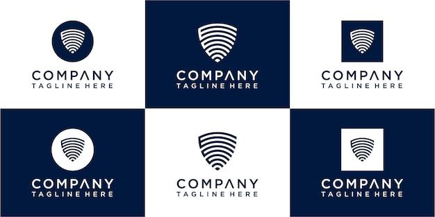 Ensemble d'icônes de conception de logo monogramme initial abstrait pour les entreprises de luxe élégant et aléatoire