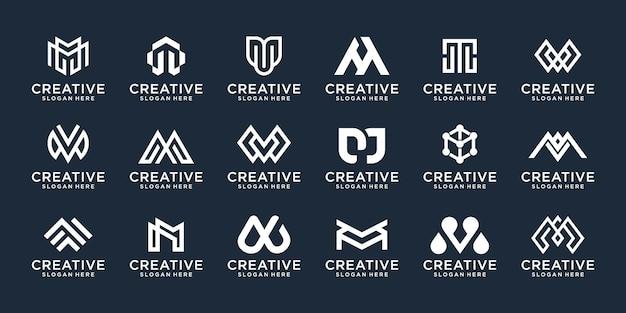 Ensemble d'icônes de conception de logo monogramme a à z initiale abstraite pour les entreprises de luxe élégantes et aléatoires