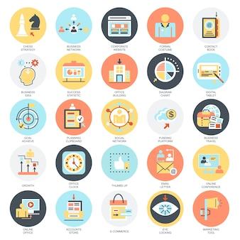 Ensemble d'icônes conceptuel plat de faire des affaires modernes en utilisant des idées de technologie de marketing.