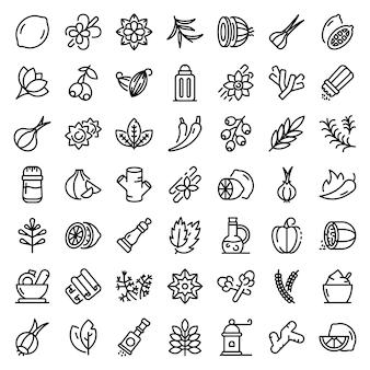 Ensemble d'icônes de condiments, style de contour