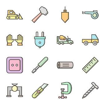Ensemble d'icônes de construction isolé sur blanc