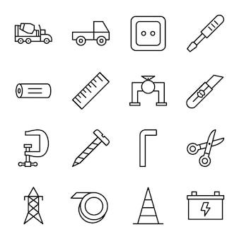 Ensemble d'icônes de construction isolé sur fond blanc.