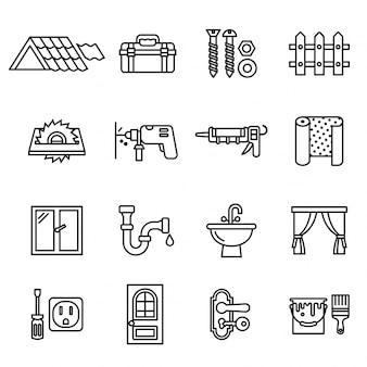 Ensemble d'icônes de construction, de réparation et de rénovation domiciliaire.