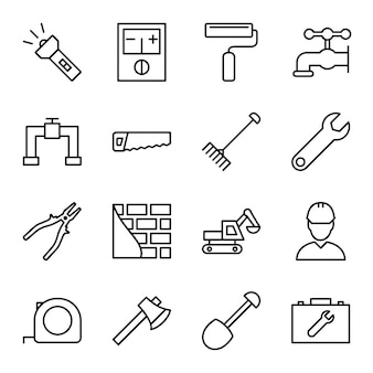 Ensemble d'icônes de construction