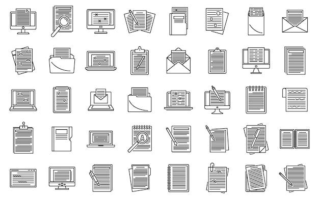 Ensemble d'icônes de contenu de l'éditeur