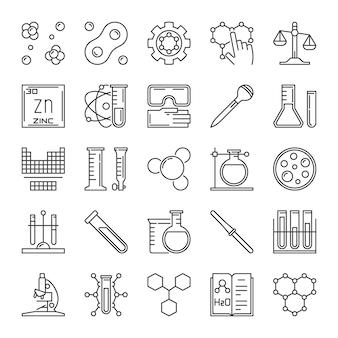 Ensemble d'icônes de contour chimique. signes de concept de chimie