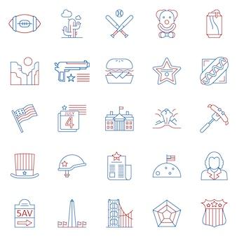 Ensemble d'icônes de contour couleur deux culture usa