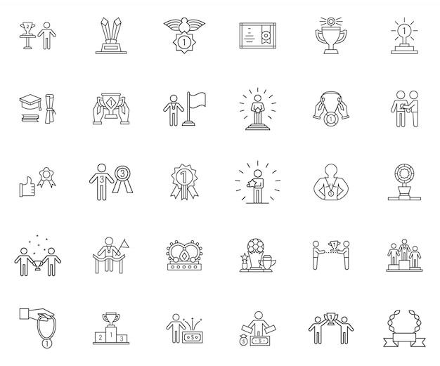 Ensemble d'icônes de contour gagnant