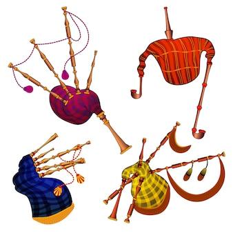 Ensemble d'icônes de cornemuses. ensemble de dessin animé d'icônes de cornemuse