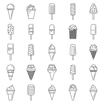 Ensemble d'icônes de cornet de crème glacée