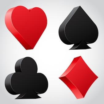 Ensemble d'icônes de costume de carte 3d en noir et rouge. illustration