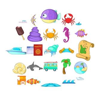 Ensemble d'icônes de la côte. ensemble de dessins animés de 25 icônes de la côte pour le web isolé sur blanc