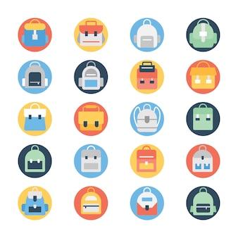 Ensemble d'icônes de couleur circulaire sac à dos