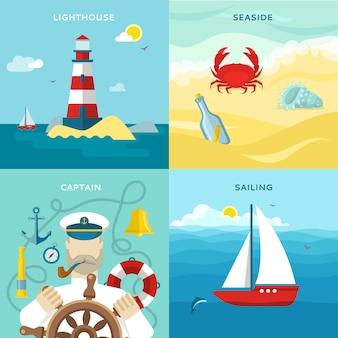 Ensemble d'icônes de couleur nautique