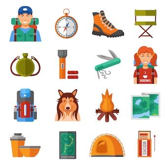 Ensemble d'icônes couleur plat de randonnée