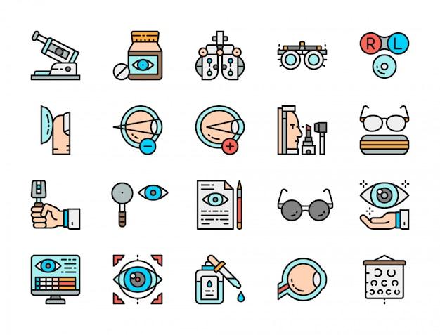 Ensemble d'icônes de couleur plate d'optométrie.