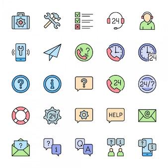 Ensemble d'icônes de couleur plate de soutien. centre d'appels, message de chat, contact
