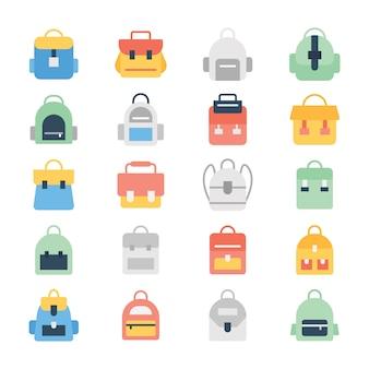 Ensemble d'icônes de couleur de sac à dos