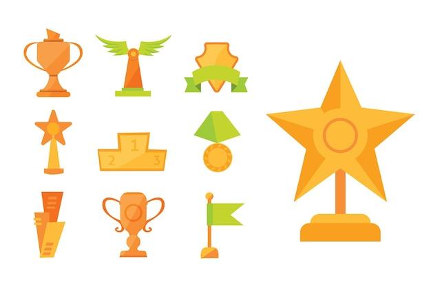 Ensemble d'icônes de coupes de prix de sport d'or dans un style plat moderne.