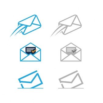 Ensemble d'icônes de courrier livré