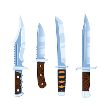 Ensemble d'icônes de couteau isolé sur fond blanc
