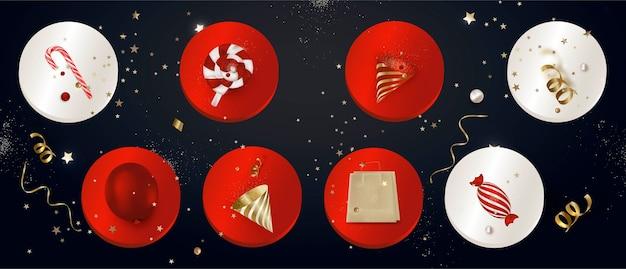 Ensemble d'icônes de couverture de faits saillants avec décoration de vacances