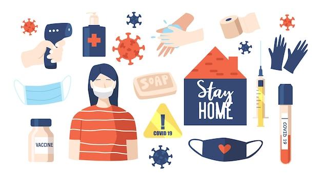 Ensemble d'icônes de covid. masque, cellules de coronavirus, lavage des mains et savon, désinfectant ? gants, panneau d'avertissement, bouteille de vaccin