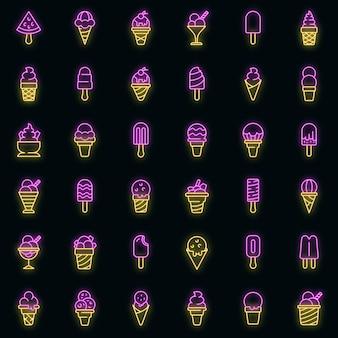 Ensemble d'icônes de crème glacée. ensemble de contour d'icônes vectorielles de crème glacée neoncolor sur fond noir