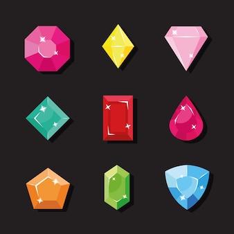 Ensemble d'icônes avec des cristaux fantastiques
